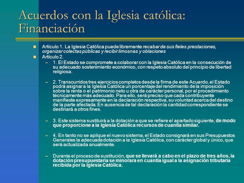 Acuerdos con la Iglesia católica: Financiación Artículo 1.