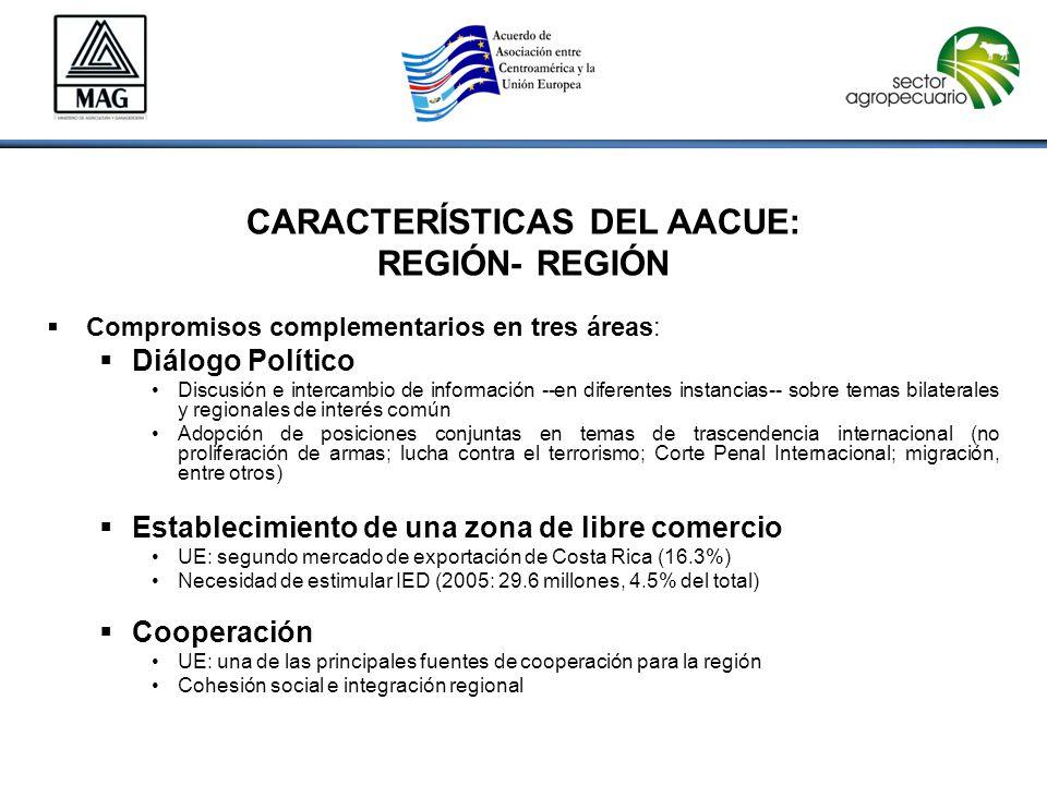 CARACTERÍSTICAS DEL AACUE: REGIÓN- REGIÓN  Compromisos complementarios en tres áreas:  Diálogo Político Discusión e intercambio de información --en diferentes instancias-- sobre temas bilaterales y regionales de interés común Adopción de posiciones conjuntas en temas de trascendencia internacional (no proliferación de armas; lucha contra el terrorismo; Corte Penal Internacional; migración, entre otros)  Establecimiento de una zona de libre comercio UE: segundo mercado de exportación de Costa Rica (16.3%) Necesidad de estimular IED (2005: 29.6 millones, 4.5% del total)  Cooperación UE: una de las principales fuentes de cooperación para la región Cohesión social e integración regional Acuerdo de Asociación: Características Acuerdo de Asociación: Características