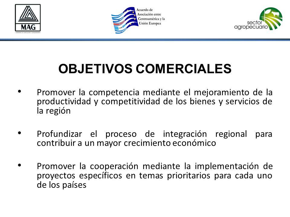 OBJETIVOS COMERCIALES Promover la competencia mediante el mejoramiento de la productividad y competitividad de los bienes y servicios de la región Profundizar el proceso de integración regional para contribuir a un mayor crecimiento económico Promover la cooperación mediante la implementación de proyectos específicos en temas prioritarios para cada uno de los países