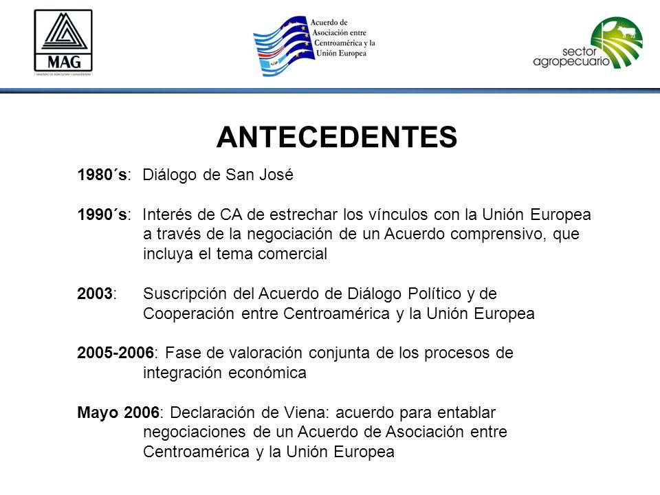 ANTECEDENTES 1980´s: Diálogo de San José 1990´s: Interés de CA de estrechar los vínculos con la Unión Europea a través de la negociación de un Acuerdo comprensivo, que incluya el tema comercial 2003: Suscripción del Acuerdo de Diálogo Político y de Cooperación entre Centroamérica y la Unión Europea 2005-2006: Fase de valoración conjunta de los procesos de integración económica Mayo 2006: Declaración de Viena: acuerdo para entablar negociaciones de un Acuerdo de Asociación entre Centroamérica y la Unión Europea