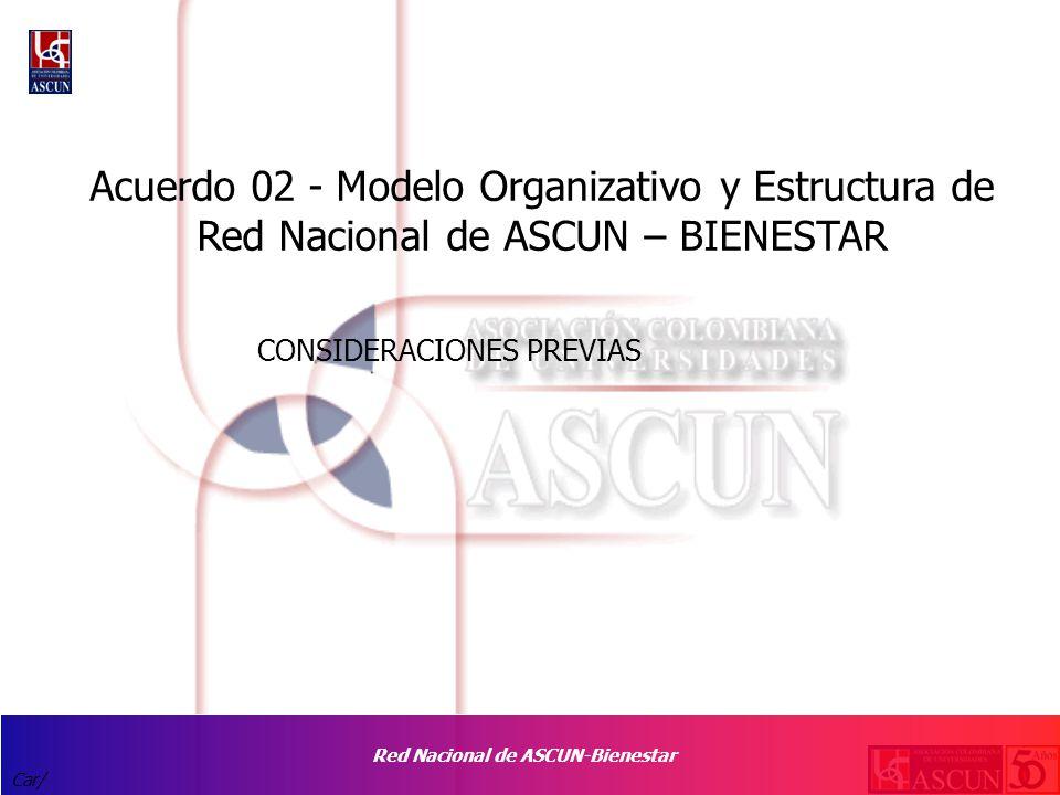 Red Nacional de ASCUN-Bienestar Car/ CONSIDERACIONES PREVIAS Acuerdo 02 - Modelo Organizativo y Estructura de Red Nacional de ASCUN – BIENESTAR