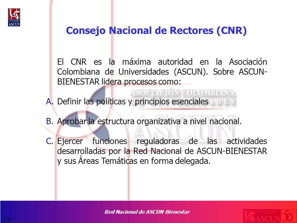 Red Nacional de ASCUN-Bienestar Car/ Consejo Nacional de Rectores (CNR) El CNR es la máxima autoridad en la Asociación Colombiana de Universidades (ASCUN).
