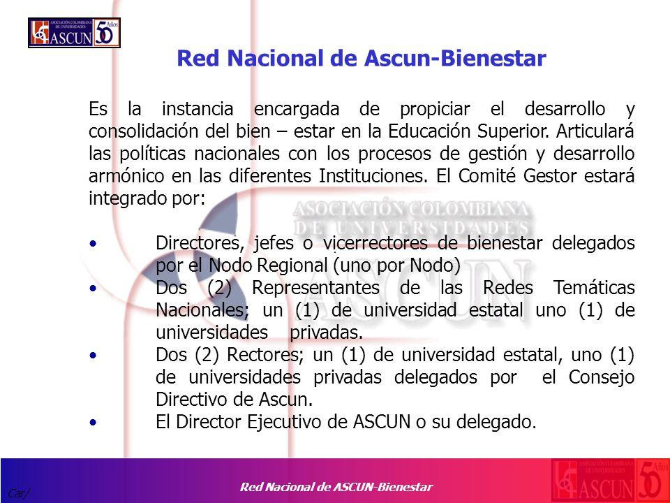 Red Nacional de ASCUN-Bienestar Car/ Red Nacional de Ascun-Bienestar Es la instancia encargada de propiciar el desarrollo y consolidación del bien – estar en la Educación Superior.
