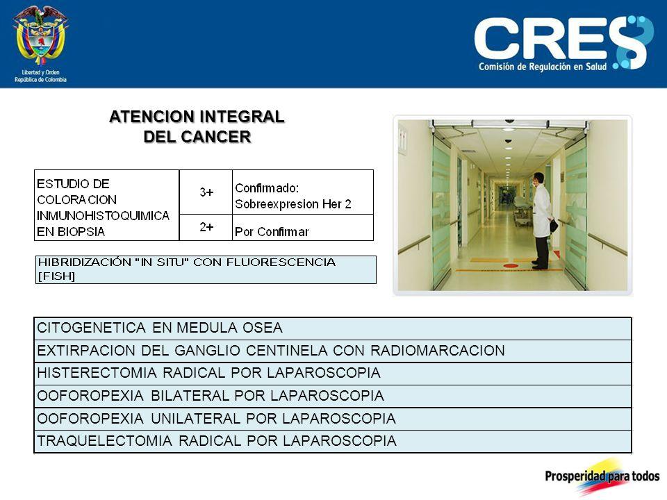 ATENCION INTEGRAL DEL CANCER CITOGENETICA EN MEDULA OSEA EXTIRPACION DEL GANGLIO CENTINELA CON RADIOMARCACION HISTERECTOMIA RADICAL POR LAPAROSCOPIA OOFOROPEXIA BILATERAL POR LAPAROSCOPIA OOFOROPEXIA UNILATERAL POR LAPAROSCOPIA TRAQUELECTOMIA RADICAL POR LAPAROSCOPIA