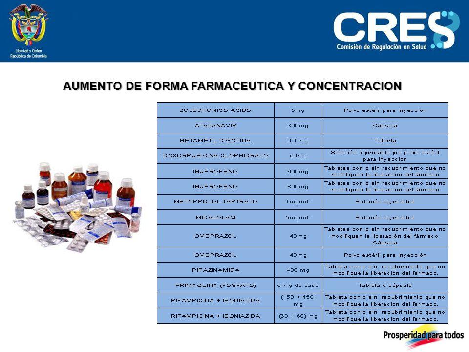 AUMENTO DE FORMA FARMACEUTICA Y CONCENTRACION