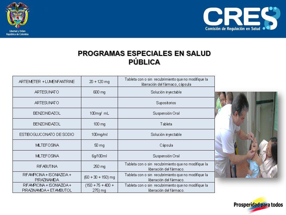 PROGRAMAS ESPECIALES EN SALUD PÚBLICA