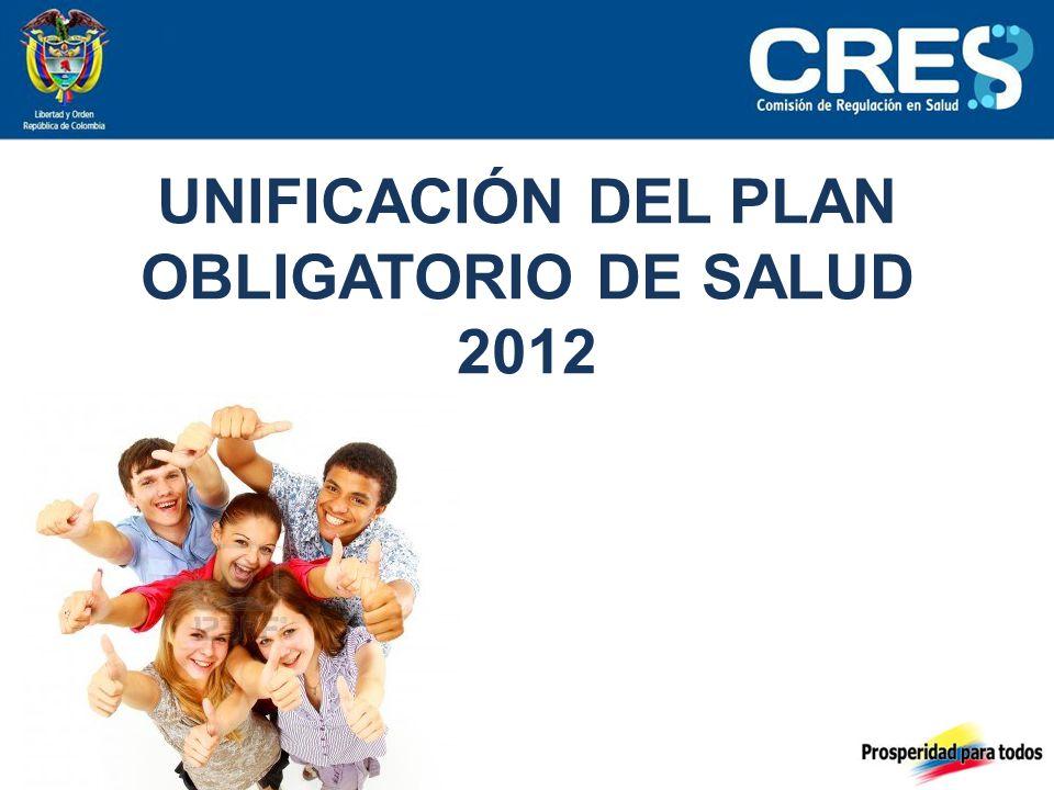 UNIFICACIÓN DEL PLAN OBLIGATORIO DE SALUD 2012