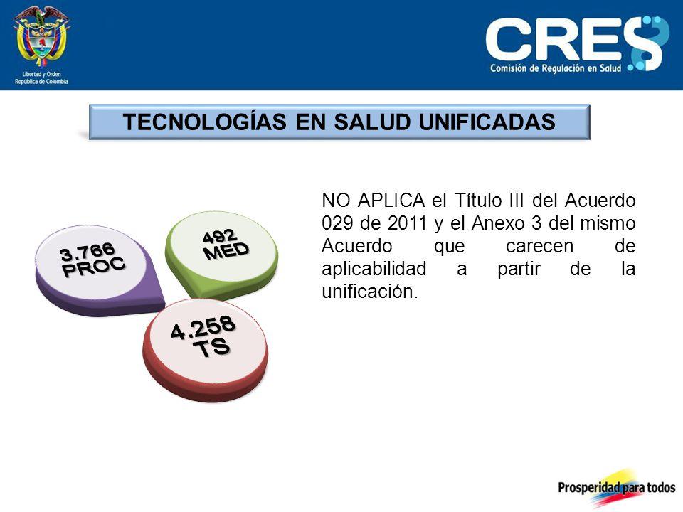 TECNOLOGÍAS EN SALUD UNIFICADAS NO APLICA el Título III del Acuerdo 029 de 2011 y el Anexo 3 del mismo Acuerdo que carecen de aplicabilidad a partir de la unificación.