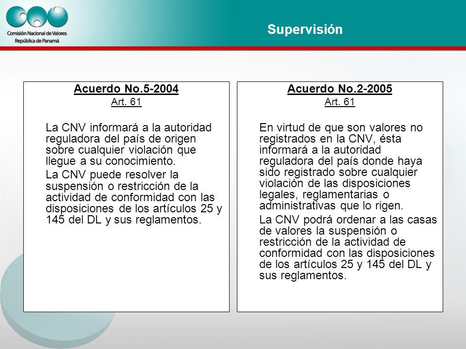 Supervisión Acuerdo No.5-2004 Art.