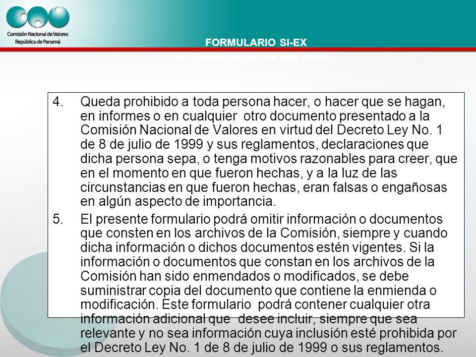 FORMULARIO SI-EX A.
