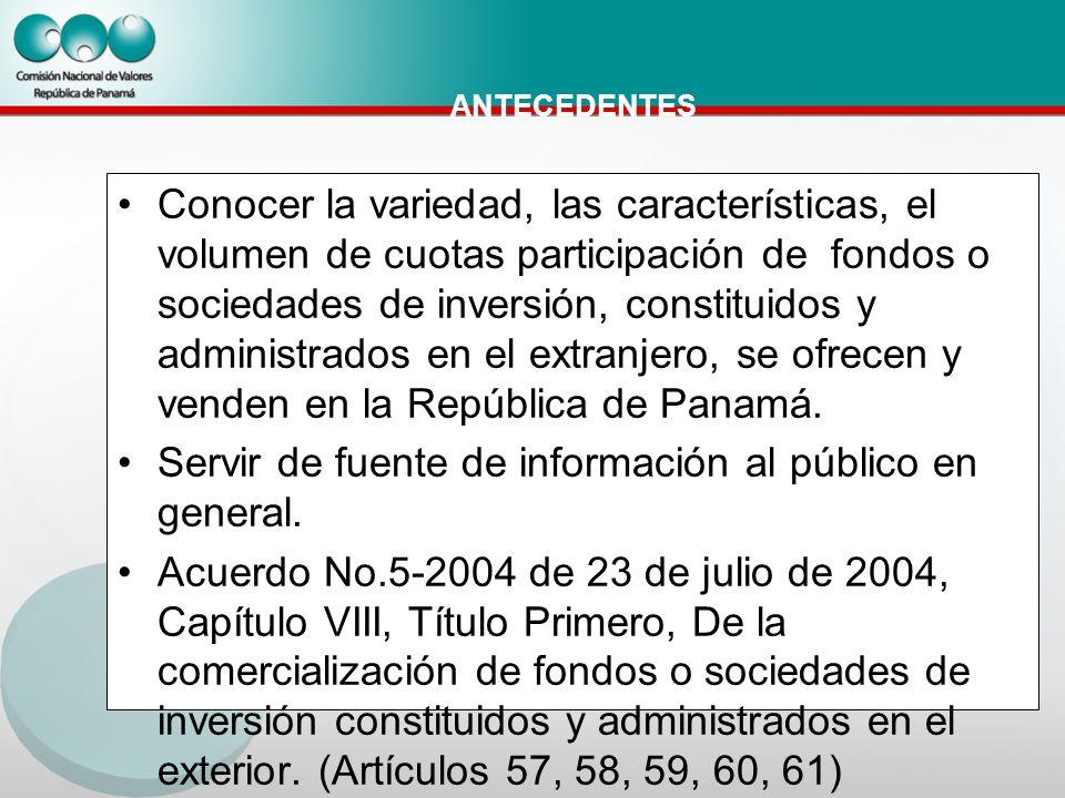 ANTECEDENTES Conocer la variedad, las características, el volumen de cuotas participación de fondos o sociedades de inversión, constituidos y administrados en el extranjero, se ofrecen y venden en la República de Panamá.