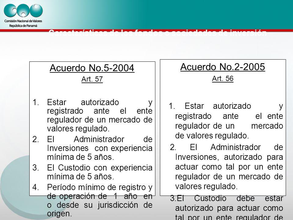 Características de los fondos o sociedades de inversión Acuerdo No.5-2004 Art.