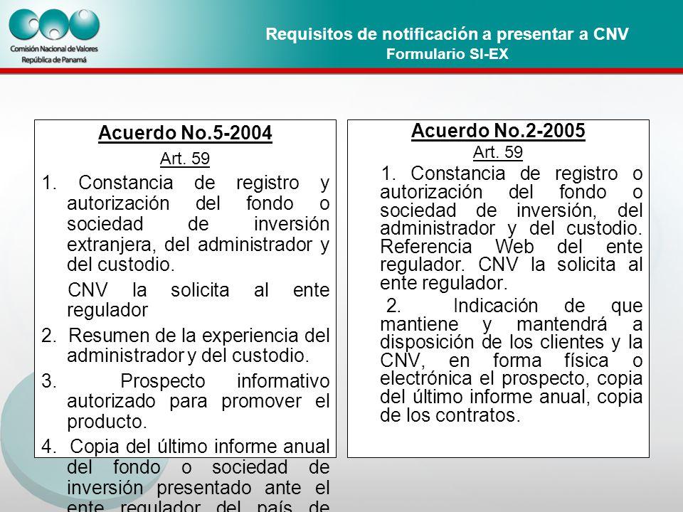 Requisitos de notificación a presentar a CNV Formulario SI-EX Acuerdo No.5-2004 Art.