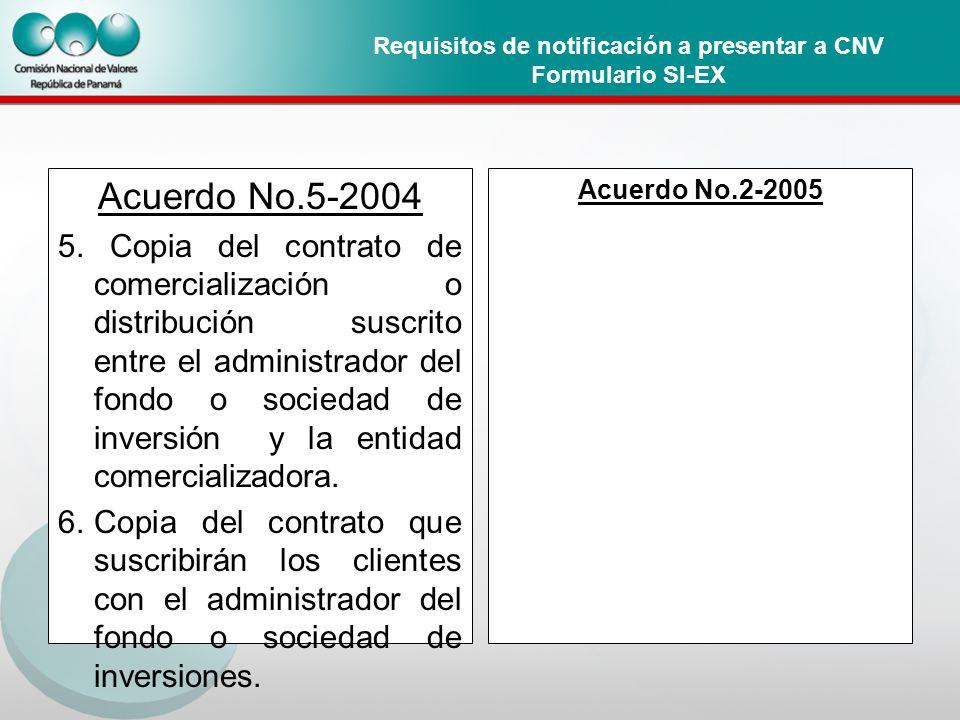 Requisitos de notificación a presentar a CNV Formulario SI-EX Acuerdo No.5-2004 5.