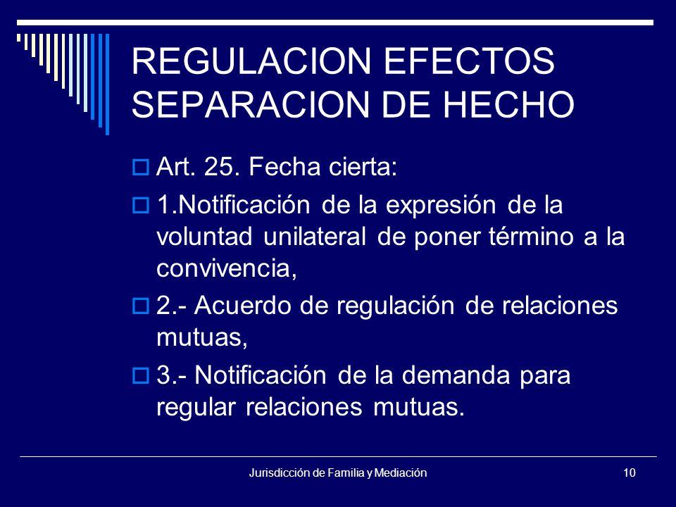 Jurisdicción de Familia y Mediación10 REGULACION EFECTOS SEPARACION DE HECHO  Art.