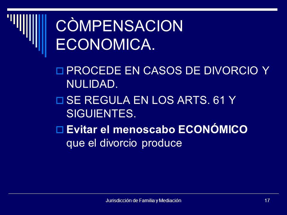 Jurisdicción de Familia y Mediación17 CÒMPENSACION ECONOMICA.
