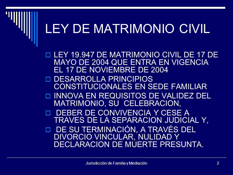 Jurisdicción de Familia y Mediación2 LEY DE MATRIMONIO CIVIL  LEY 19.947 DE MATRIMONIO CIVIL DE 17 DE MAYO DE 2004 QUE ENTRA EN VIGENCIA EL 17 DE NOVIEMBRE DE 2004  DESARROLLA PRINCIPIOS CONSTITUCIONALES EN SEDE FAMILIAR  INNOVA EN REQUISITOS DE VALIDEZ DEL MATRIMONIO, SU CELEBRACION,  DEBER DE CONVIVENCIA Y CESE A TRAVES DE LA SEPARACION JUDICIAL Y,  DE SU TERMINACIÓN, A TRAVÉS DEL DIVORCIO VINCULAR, NULIDAD Y DECLARACION DE MUERTE PRESUNTA.