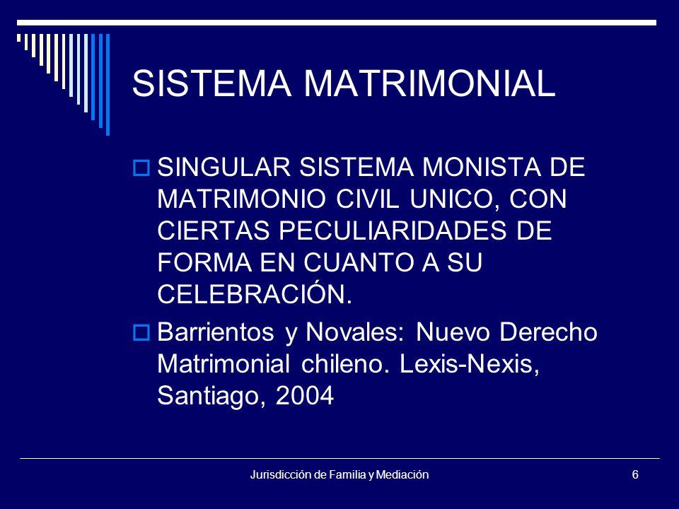 Jurisdicción de Familia y Mediación6 SISTEMA MATRIMONIAL  SINGULAR SISTEMA MONISTA DE MATRIMONIO CIVIL UNICO, CON CIERTAS PECULIARIDADES DE FORMA EN CUANTO A SU CELEBRACIÓN.