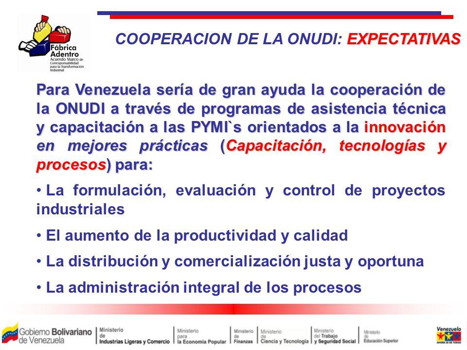 Para Venezuela sería de gran ayuda la cooperación de la ONUDI a través de programas de asistencia técnica y capacitación a las PYMI`s orientados a la innovación en mejores prácticas (Capacitación, tecnologías y procesos) para: La formulación, evaluación y control de proyectos industriales El aumento de la productividad y calidad La distribución y comercialización justa y oportuna La administración integral de los procesos EXPECTATIVAS COOPERACION DE LA ONUDI: EXPECTATIVAS