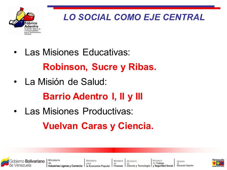 LO SOCIAL COMO EJE CENTRAL Las Misiones Educativas: Robinson, Sucre y Ribas.