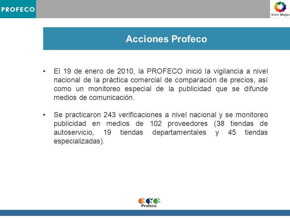 Acciones Profeco El 19 de enero de 2010, la PROFECO inició la vigilancia a nivel nacional de la práctica comercial de comparación de precios, así como un monitoreo especial de la publicidad que se difunde medios de comunicación.