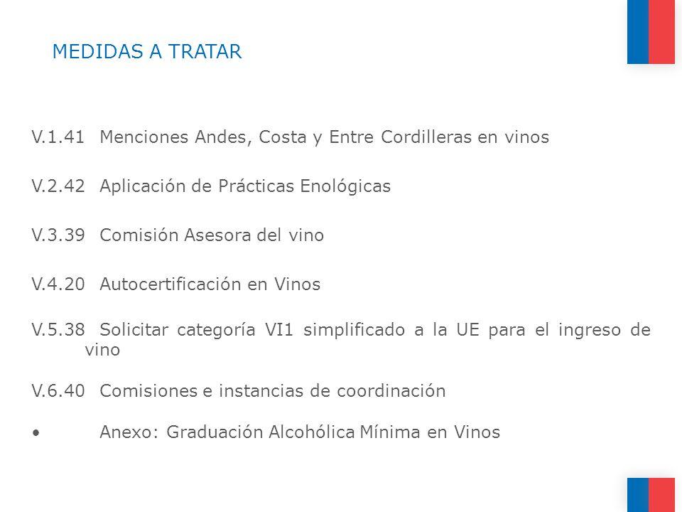 MEDIDAS A TRATAR V.1.41Menciones Andes, Costa y Entre Cordilleras en vinos V.2.42Aplicación de Prácticas Enológicas V.3.39Comisión Asesora del vino V.4.20Autocertificación en Vinos V.5.38Solicitar categoría VI1 simplificado a la UE para el ingreso de vino V.6.40Comisiones e instancias de coordinación Anexo: Graduación Alcohólica Mínima en Vinos