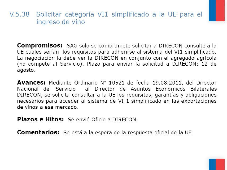 V.5.38 Solicitar categoría VI1 simplificado a la UE para el ingreso de vino Compromisos: SAG solo se compromete solicitar a DIRECON consulte a la UE cuales serían los requisitos para adherirse al sistema del VI1 simplificado.