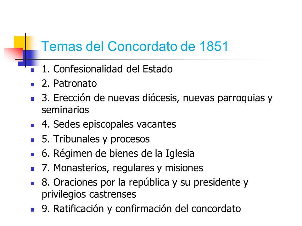 Temas del Concordato de 1851 1. Confesionalidad del Estado 2.