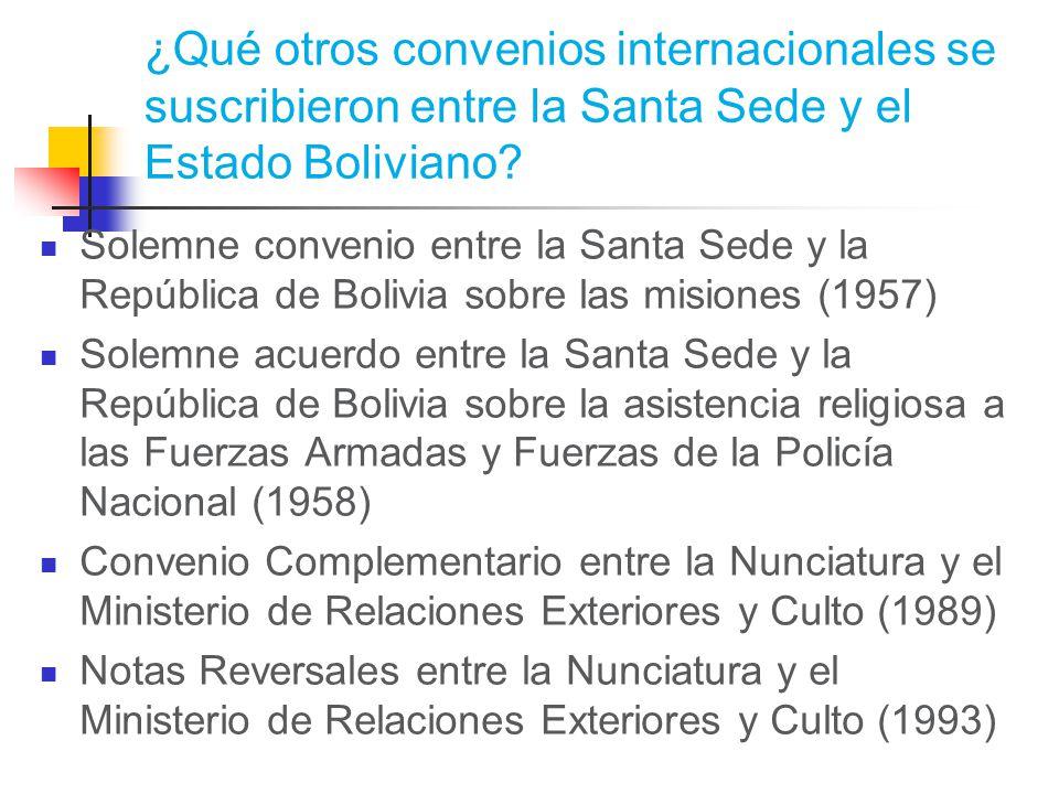 ¿Qué otros convenios internacionales se suscribieron entre la Santa Sede y el Estado Boliviano.