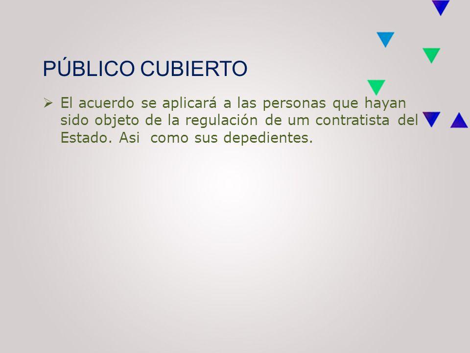PÚBLICO CUBIERTO  El acuerdo se aplicará a las personas que hayan sido objeto de la regulación de um contratista del Estado.