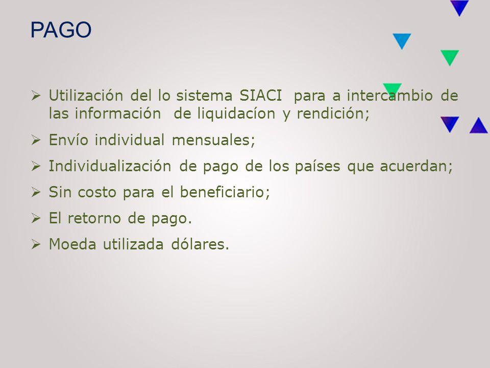 PAGO  Utilización del lo sistema SIACI para a intercambio de las información de liquidacíon y rendición;  Envío individual mensuales;  Individualización de pago de los países que acuerdan;  Sin costo para el beneficiario;  El retorno de pago.