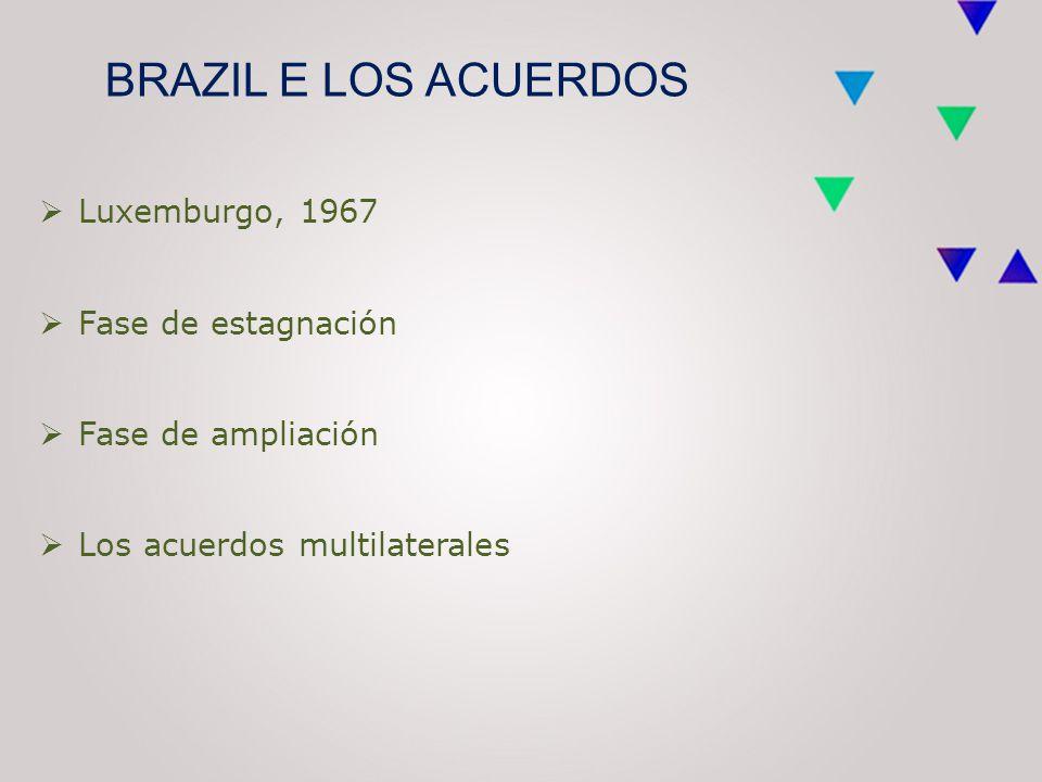 BRAZIL E LOS ACUERDOS  Luxemburgo, 1967  Fase de estagnación  Fase de ampliación  Los acuerdos multilaterales