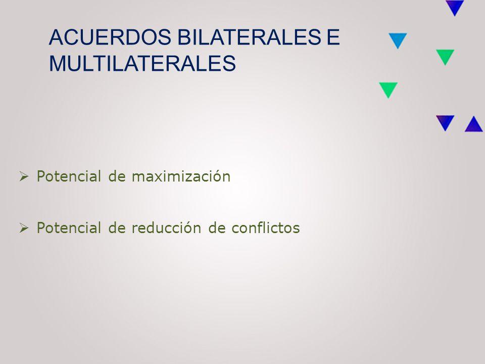 ACUERDOS BILATERALES E MULTILATERALES  Potencial de maximización  Potencial de reducción de conflictos
