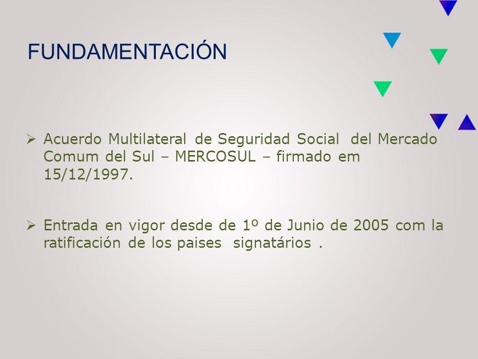 FUNDAMENTACIÓN  Acuerdo Multilateral de Seguridad Social del Mercado Comum del Sul – MERCOSUL – firmado em 15/12/1997.