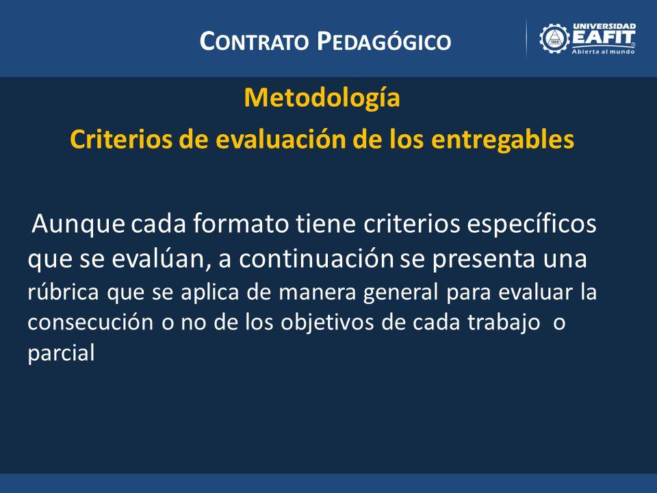 C ONTRATO P EDAGÓGICO Metodología Criterios de evaluación de los entregables Aunque cada formato tiene criterios específicos que se evalúan, a continuación se presenta una rúbrica que se aplica de manera general para evaluar la consecución o no de los objetivos de cada trabajo o parcial