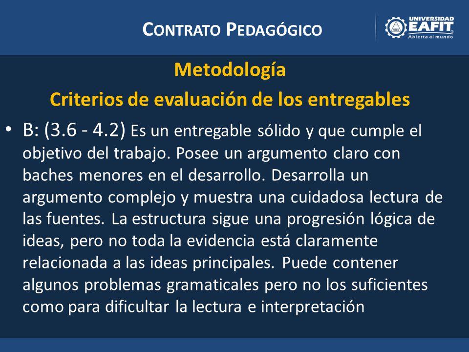 C ONTRATO P EDAGÓGICO Metodología Criterios de evaluación de los entregables B: (3.6 - 4.2) Es un entregable sólido y que cumple el objetivo del trabajo.