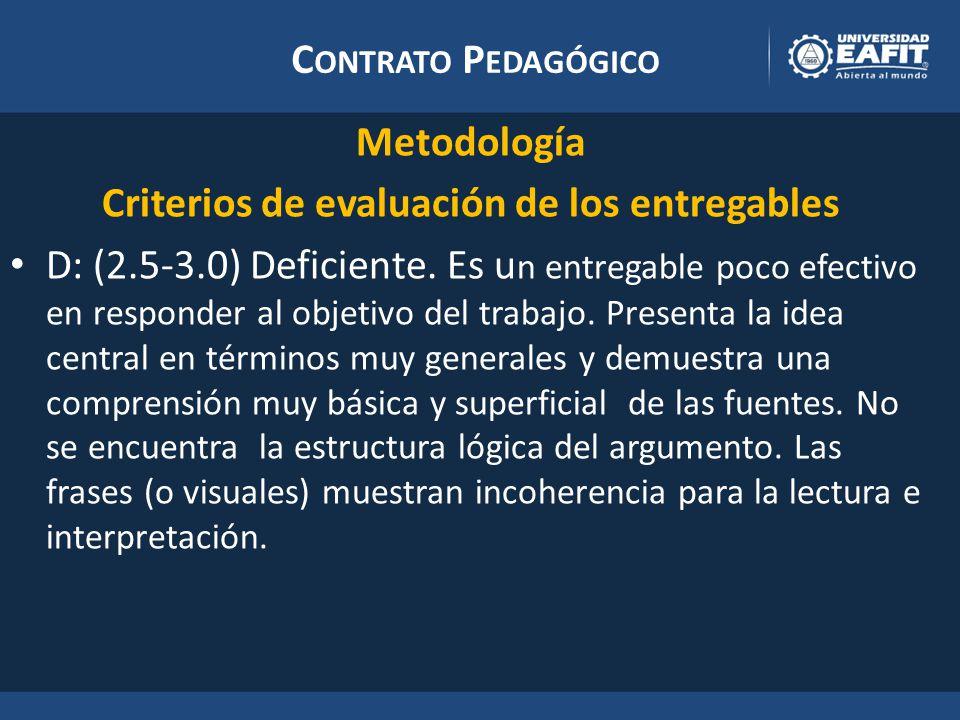 C ONTRATO P EDAGÓGICO Metodología Criterios de evaluación de los entregables D: (2.5-3.0) Deficiente.