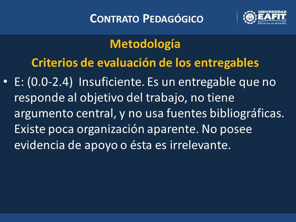 C ONTRATO P EDAGÓGICO Metodología Criterios de evaluación de los entregables E: (0.0-2.4) Insuficiente.