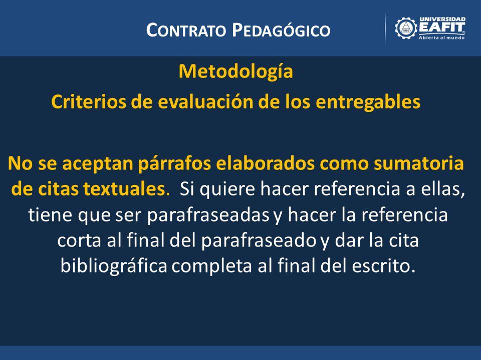 C ONTRATO P EDAGÓGICO Metodología Criterios de evaluación de los entregables No se aceptan párrafos elaborados como sumatoria de citas textuales.
