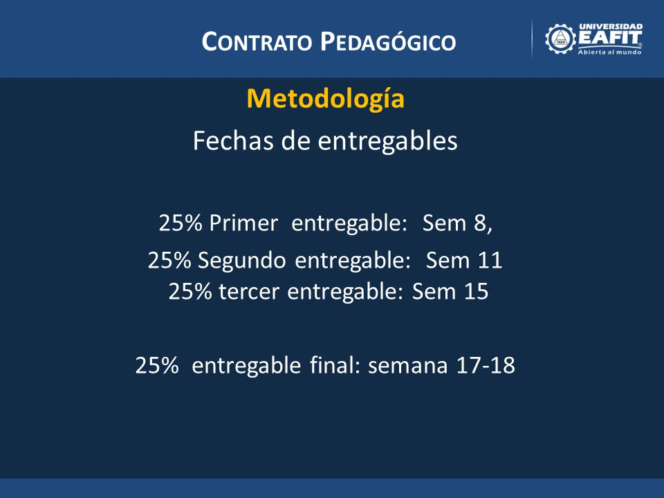 C ONTRATO P EDAGÓGICO Metodología Fechas de entregables 25% Primer entregable: Sem 8, 25% Segundo entregable: Sem 11 25% tercer entregable: Sem 15 25% entregable final: semana 17-18