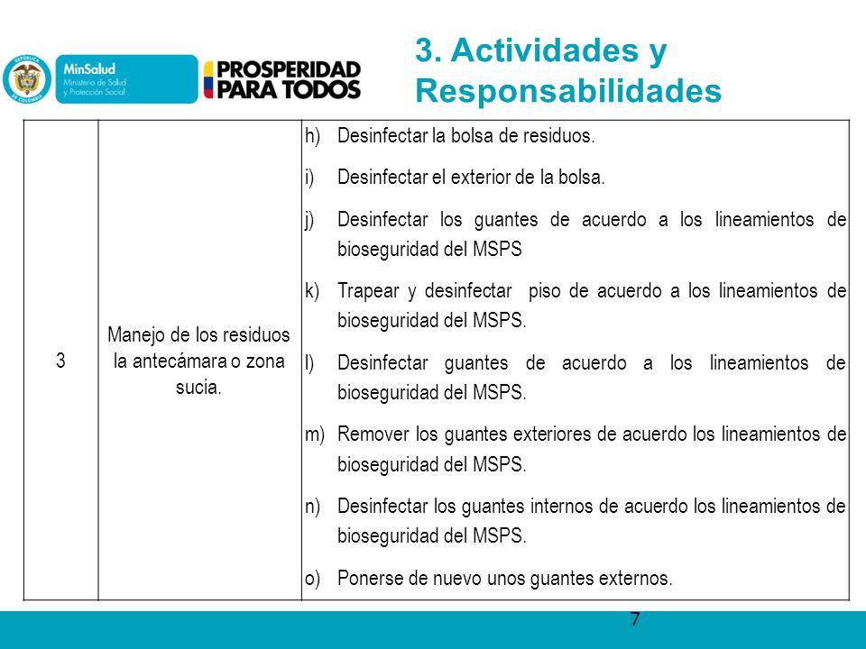 7 3. Actividades y Responsabilidades 3 Manejo de los residuos la antecámara o zona sucia.