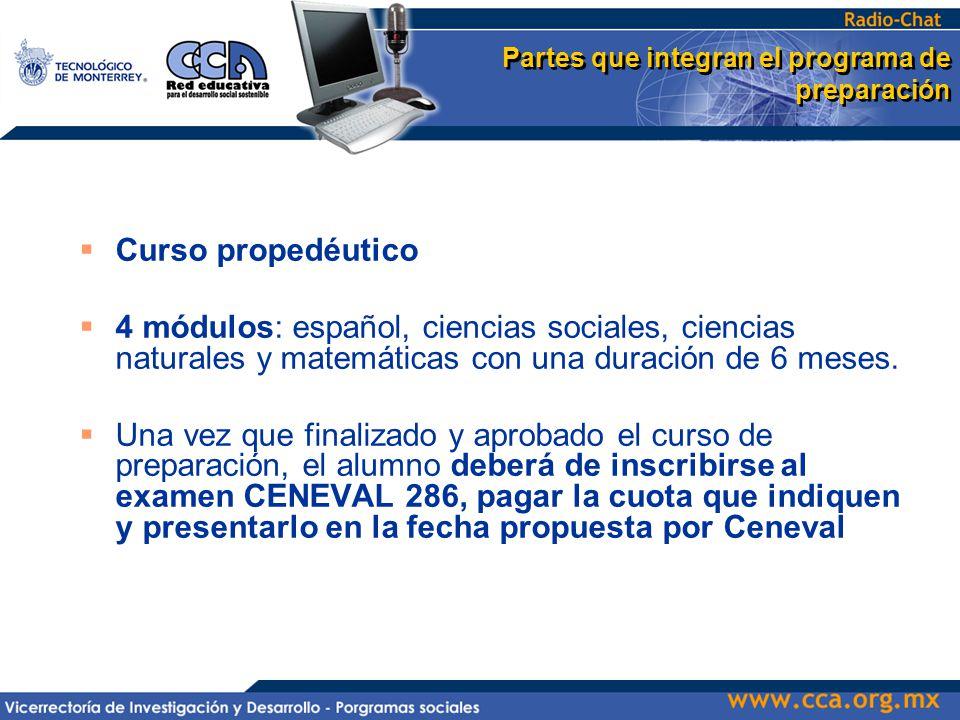 Partes que integran el programa de preparación  Curso propedéutico  4 módulos: español, ciencias sociales, ciencias naturales y matemáticas con una duración de 6 meses.