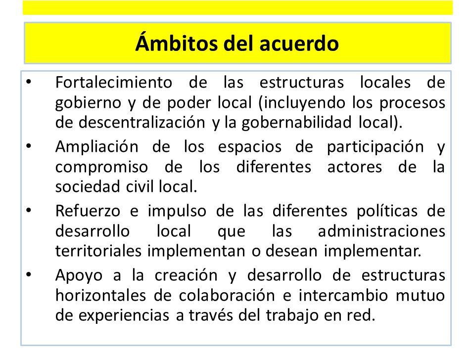 Ámbitos del acuerdo Fortalecimiento de las estructuras locales de gobierno y de poder local (incluyendo los procesos de descentralización y la gobernabilidad local).