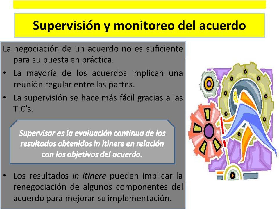 Supervisión y monitoreo del acuerdo La negociación de un acuerdo no es suficiente para su puesta en práctica.