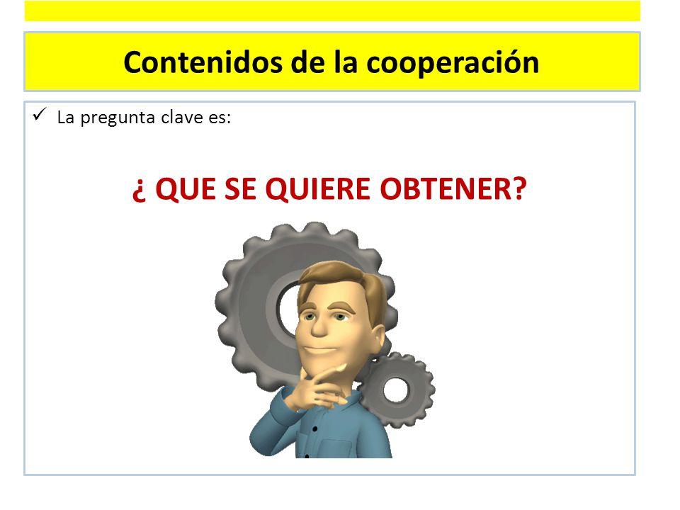 Contenidos de la cooperación La pregunta clave es: ¿ QUE SE QUIERE OBTENER