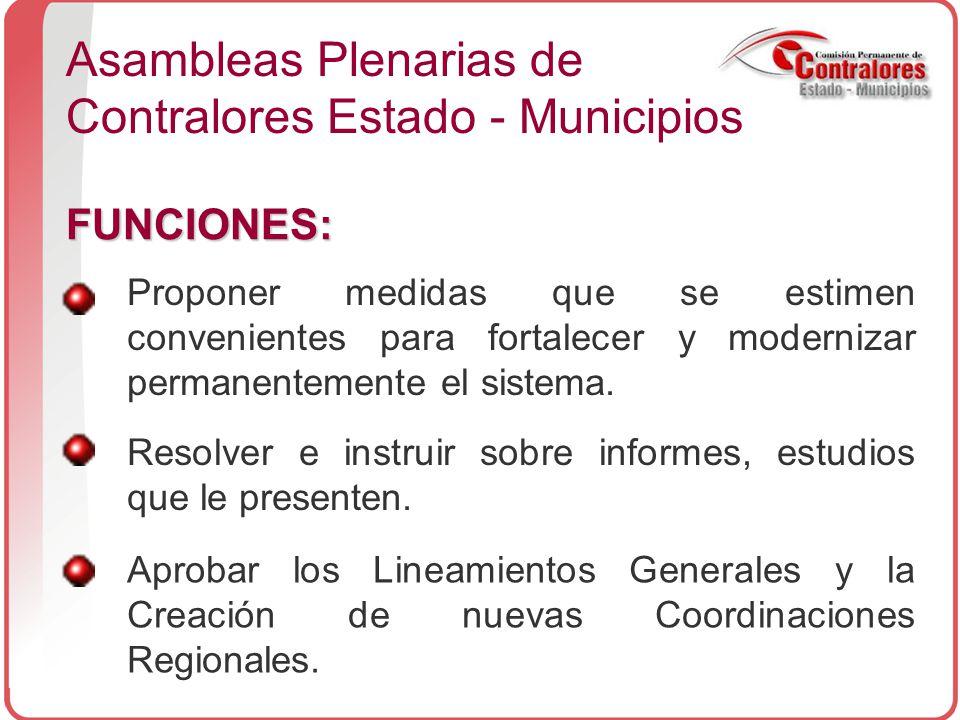 Asambleas Plenarias de Contralores Estado - Municipios FUNCIONES: Proponer medidas que se estimen convenientes para fortalecer y modernizar permanentemente el sistema.