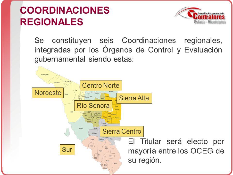 COORDINACIONES REGIONALES El Titular será electo por mayoría entre los OCEG de su región.