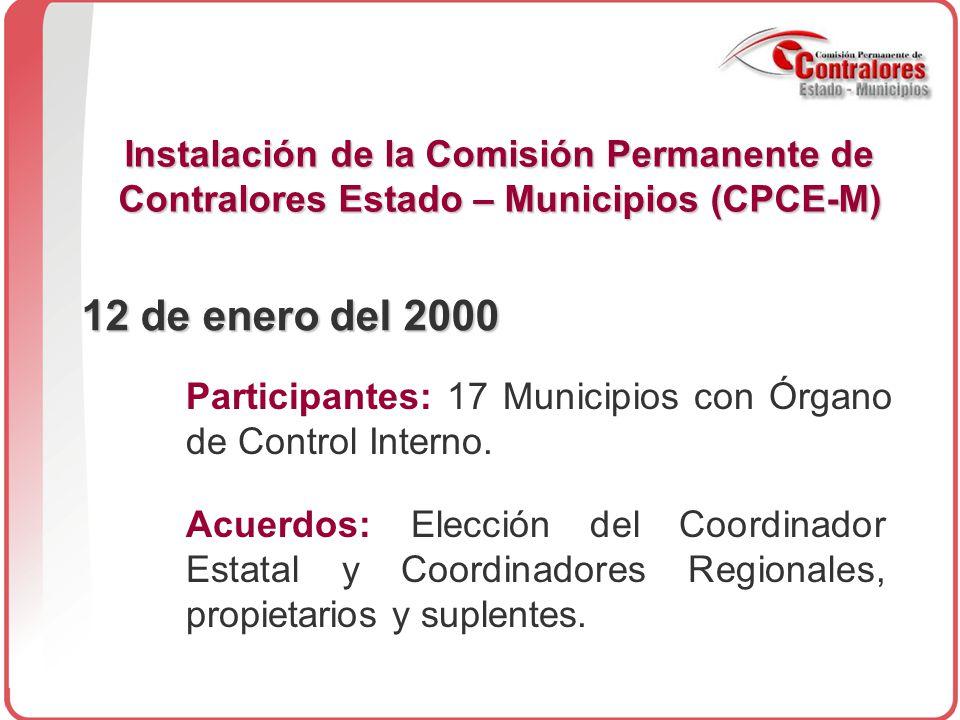 Instalación de la Comisión Permanente de Contralores Estado – Municipios (CPCE-M) 12 de enero del 2000 Participantes: 17 Municipios con Órgano de Control Interno.