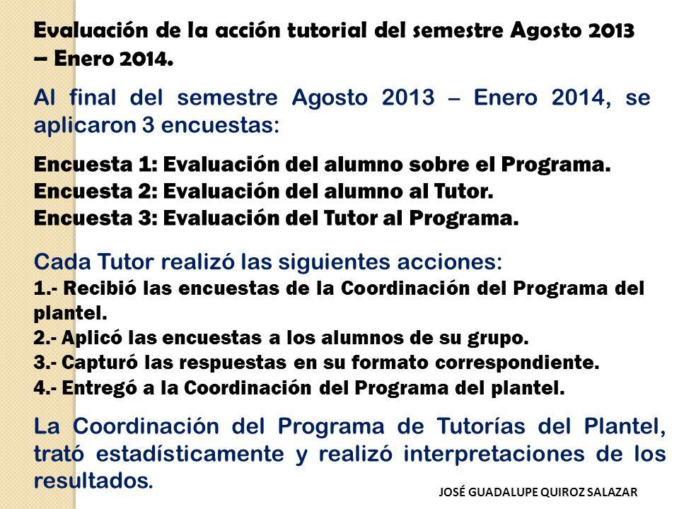 Evaluación de la acción tutorial del semestre Agosto 2013 – Enero 2014.