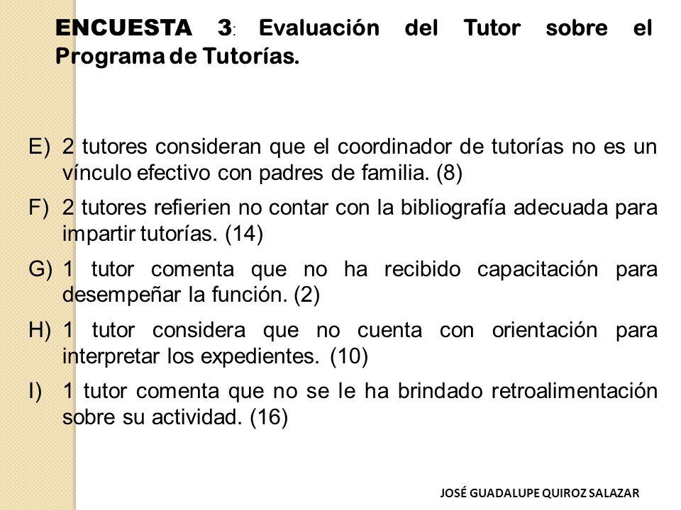 E)2 tutores consideran que el coordinador de tutorías no es un vínculo efectivo con padres de familia.